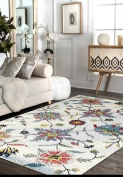 Beautiful Floral Cherry Hand-tufted Wool Rug Manufacturers in Tamil Nadu