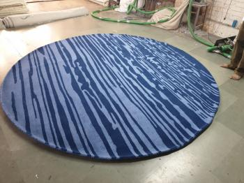 Blue Stripped Round Rug Manufacturers in Panna