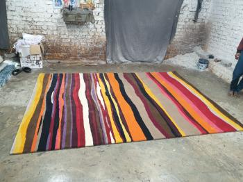 Handmade Multi Coloured Woolen Floor Rug Manufacturers in Rajasthan
