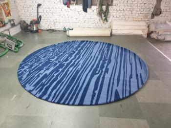 Marine Blue Woolen Round Carpet Manufacturers in Panna