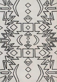 Simple Black-White Motif Area Rug Manufacturers in Jharkhand