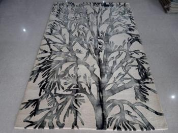Tree Design White Woolen Carpet Manufacturers in Rajasthan