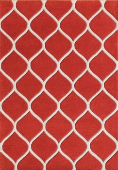 White-Red Fence-Design Woolen Carpet Manufacturers in Rajasthan